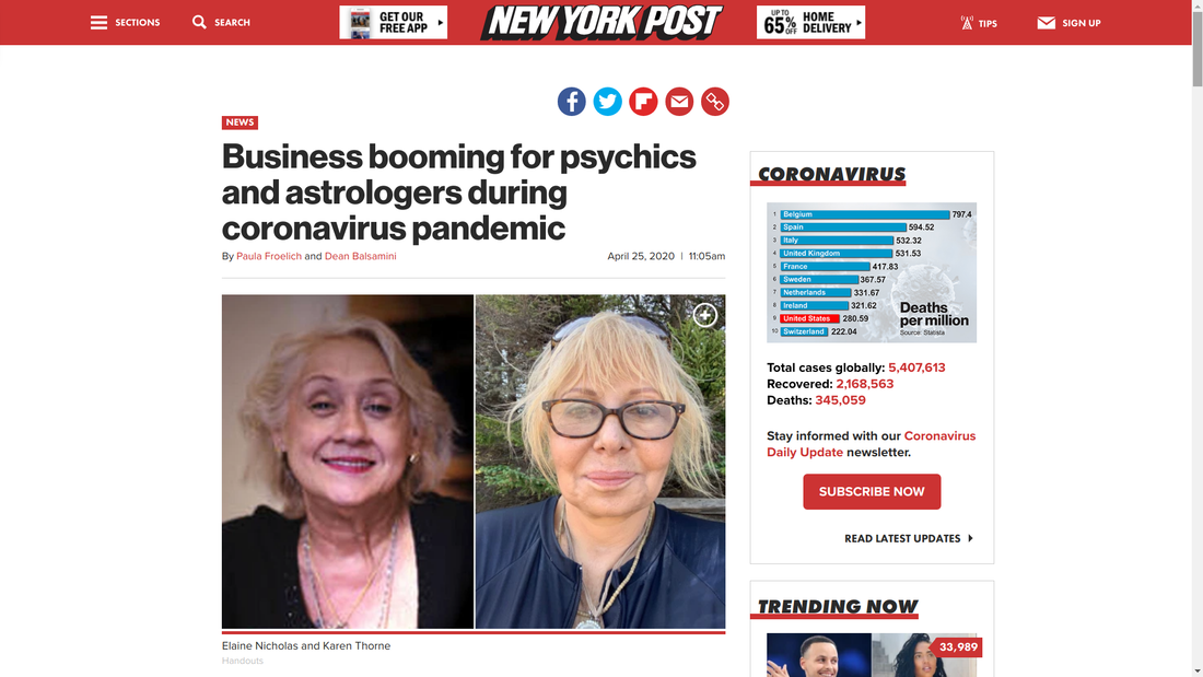 NY Post Article Interviewing renowned Psychics on Coronavirus