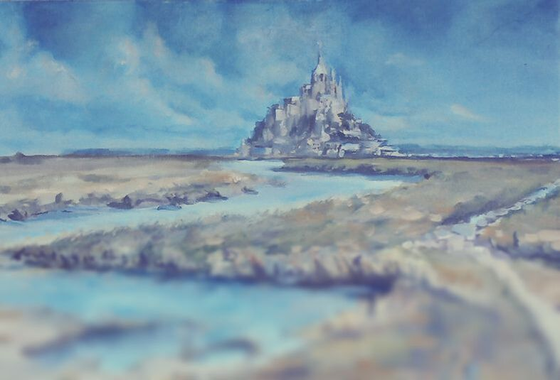 Arcangel Raphael Psychic Angel Channeling - Mont St. Michel Painting