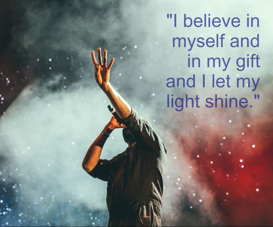 Singer on Stage & Affirmation: