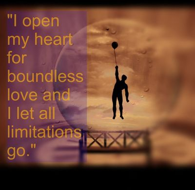 "Spiritual & Tarot Affirmation: ""I open my heart for boundless love and I let all limitations go."""