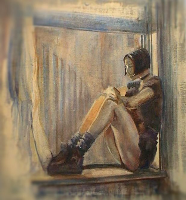Painting - Girl on the Window & Spiritual Affirmation: