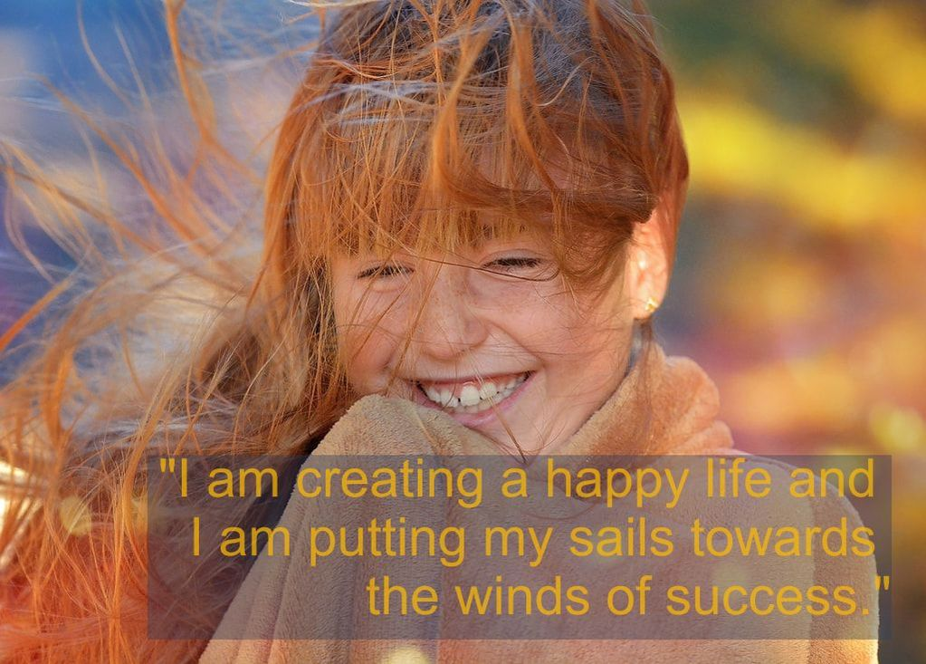 Smiling girl & Spiritual Affirmation: